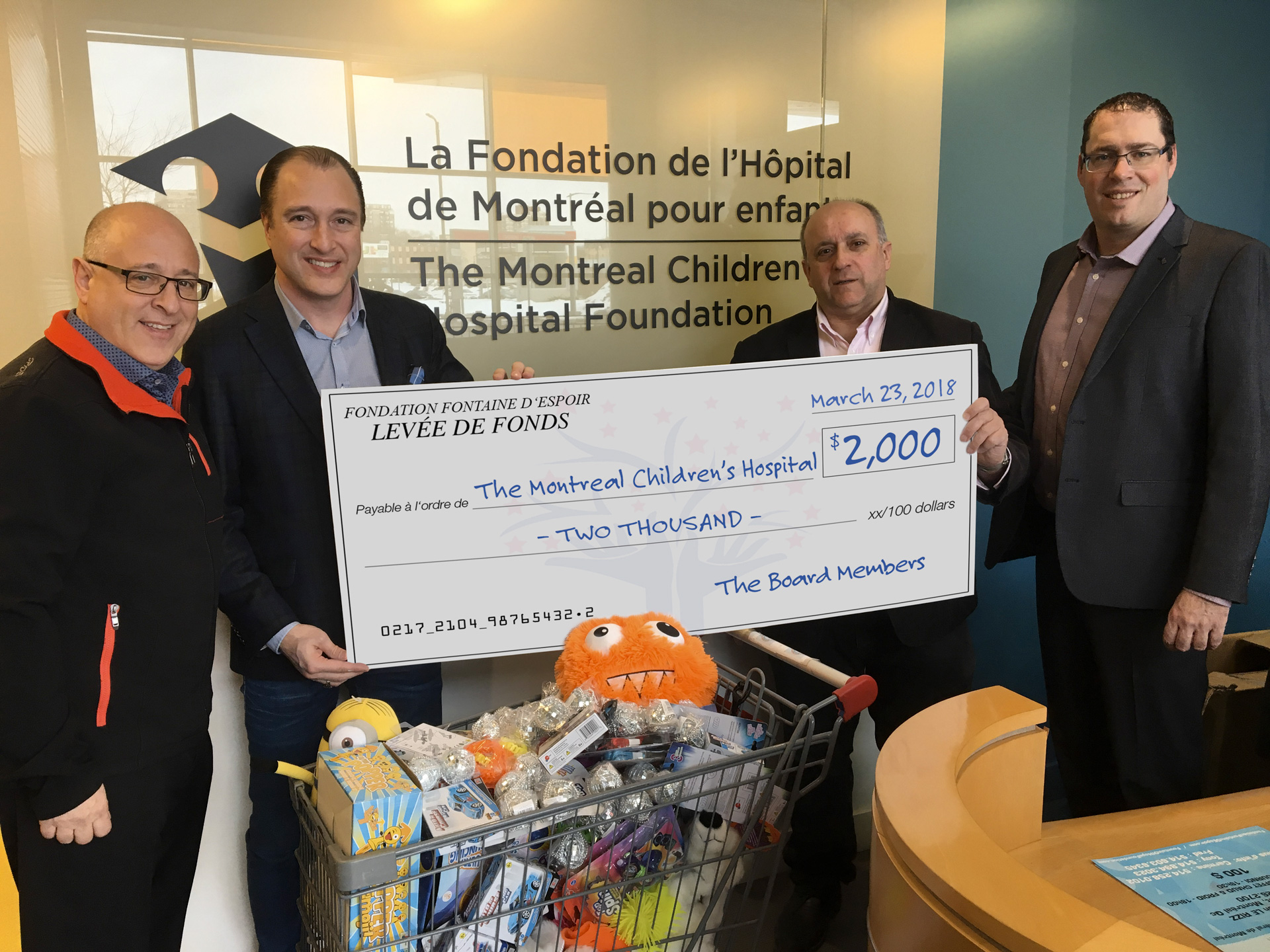 Don à La Fondation de l'Hôpital de Montréal pour enfants